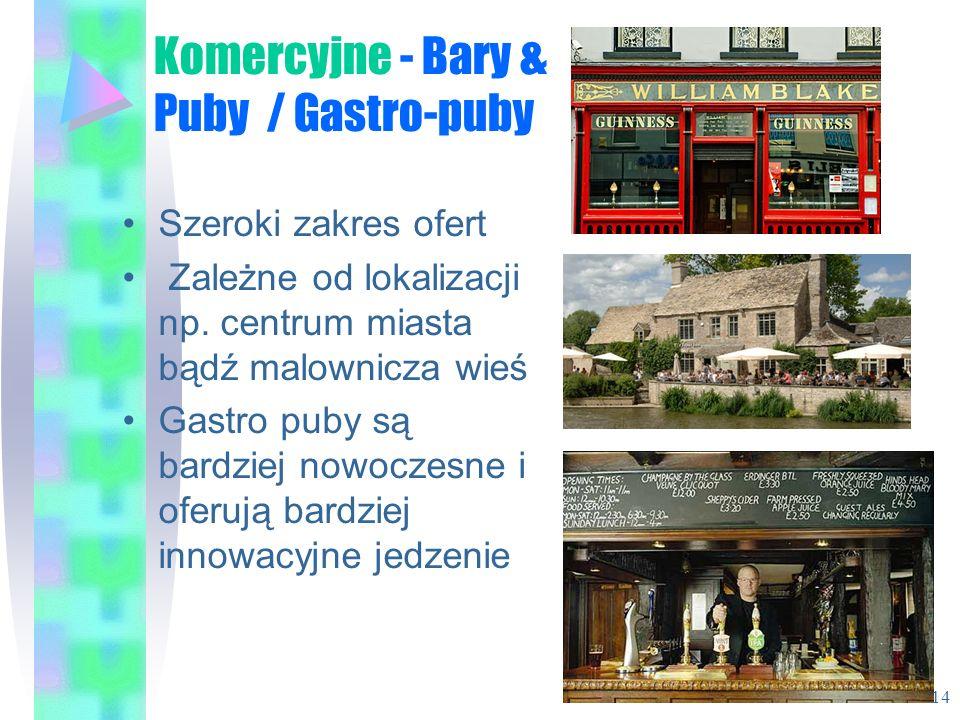 Komercyjne - Bary & Puby / Gastro-puby Szeroki zakres ofert Zależne od lokalizacji np. centrum miasta bądź malownicza wieś Gastro puby są bardziej now
