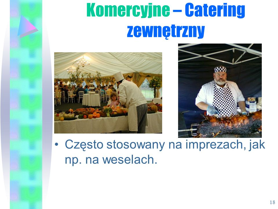 Często stosowany na imprezach, jak np. na weselach. Komercyjne – Catering zewnętrzny 18