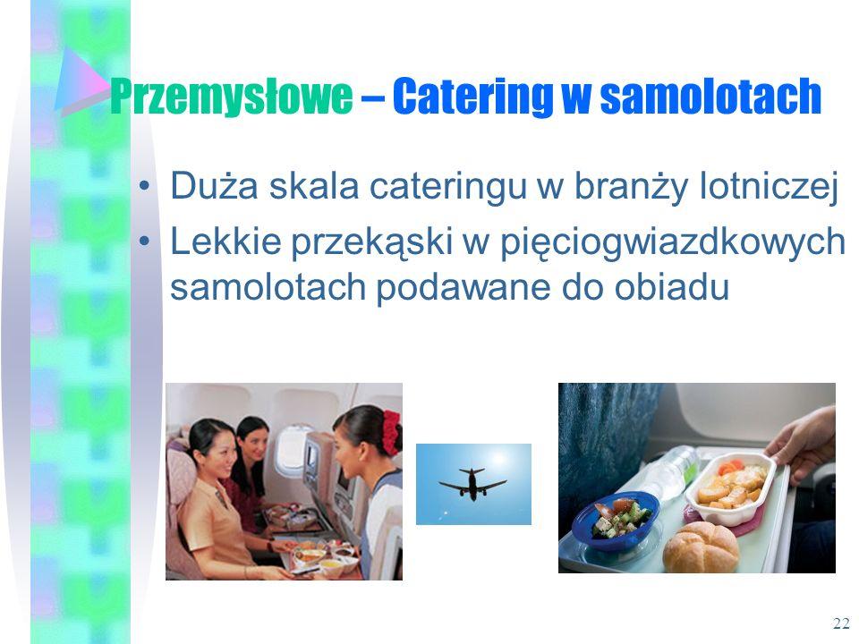 Przemysłowe – Catering w samolotach Duża skala cateringu w branży lotniczej Lekkie przekąski w pięciogwiazdkowych samolotach podawane do obiadu 22