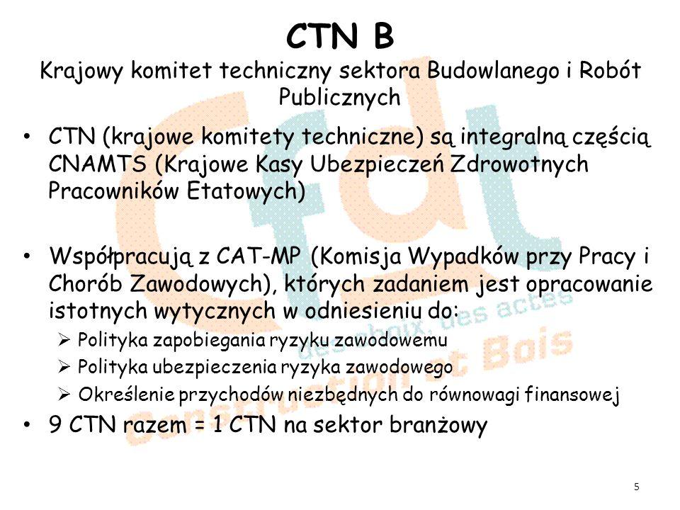 CTN B Krajowy komitet techniczny sektora Budowlanego i Robót Publicznych CTN (krajowe komitety techniczne) są integralną częścią CNAMTS (Krajowe Kasy Ubezpieczeń Zdrowotnych Pracowników Etatowych) Współpracują z CAT-MP (Komisja Wypadków przy Pracy i Chorób Zawodowych), których zadaniem jest opracowanie istotnych wytycznych w odniesieniu do: Polityka zapobiegania ryzyku zawodowemu Polityka ubezpieczenia ryzyka zawodowego Określenie przychodów niezbędnych do równowagi finansowej 9 CTN razem = 1 CTN na sektor branżowy 5