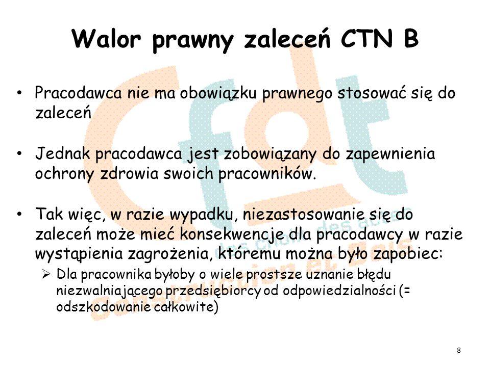 Walor prawny zaleceń CTN B Pracodawca nie ma obowiązku prawnego stosować się do zaleceń Jednak pracodawca jest zobowiązany do zapewnienia ochrony zdrowia swoich pracowników.