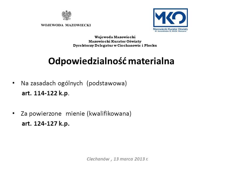 Odpowiedzialność materialna Na zasadach ogólnych (podstawowa) art. 114-122 k.p. Za powierzone mienie (kwalifikowana) art. 124-127 k.p. Ciechanów, 13 m