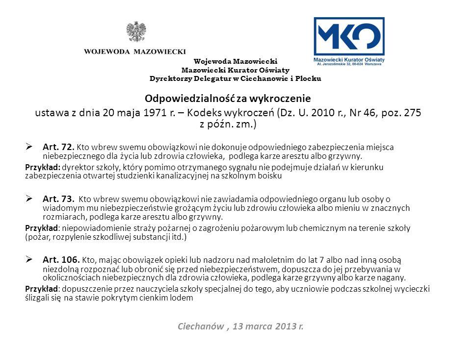 Odpowiedzialność za wykroczenie ustawa z dnia 20 maja 1971 r. – Kodeks wykroczeń (Dz. U. 2010 r., Nr 46, poz. 275 z późn. zm.) Art. 72. Kto wbrew swem