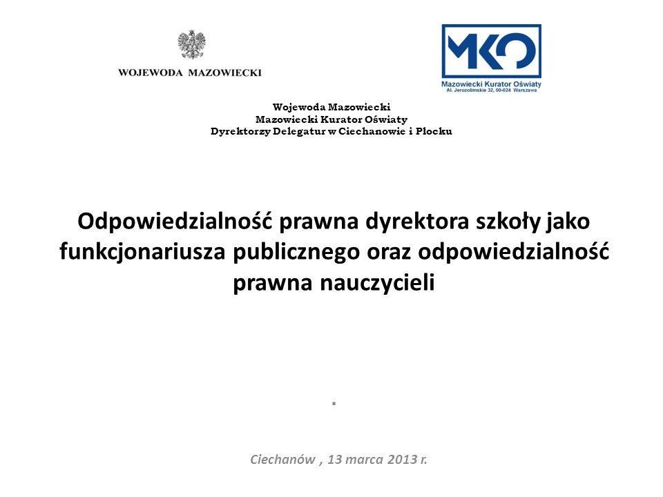 Odpowiedzialność karna Odpowiedzialność karna ma charakter osobisty i nie można jej przerzucić na organ prowadzący szkołę Ciechanów, 13 marca 2013 r.