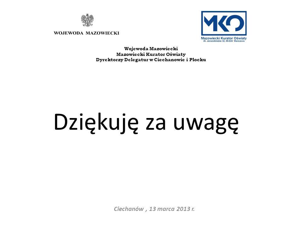 Dziękuję za uwagę Ciechanów, 13 marca 2013 r. Wojewoda Mazowiecki Mazowiecki Kurator Oświaty Dyrektorzy Delegatur w Ciechanowie i Płocku