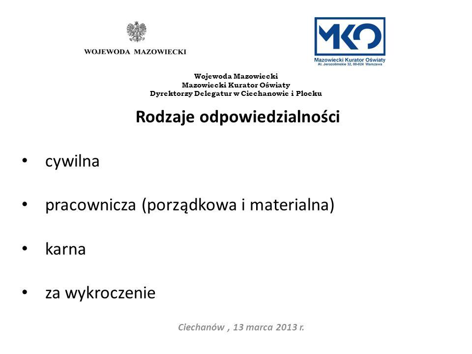 Rodzaje odpowiedzialności cywilna pracownicza (porządkowa i materialna) karna za wykroczenie Ciechanów, 13 marca 2013 r. Wojewoda Mazowiecki Mazowieck