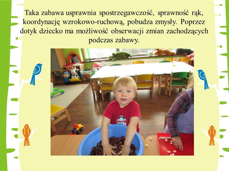 Taka zabawa usprawnia spostrzegawczość, sprawność rąk, koordynację wzrokowo-ruchową, pobudza zmysły. Poprzez dotyk dziecko ma możliwość obserwacji zmi