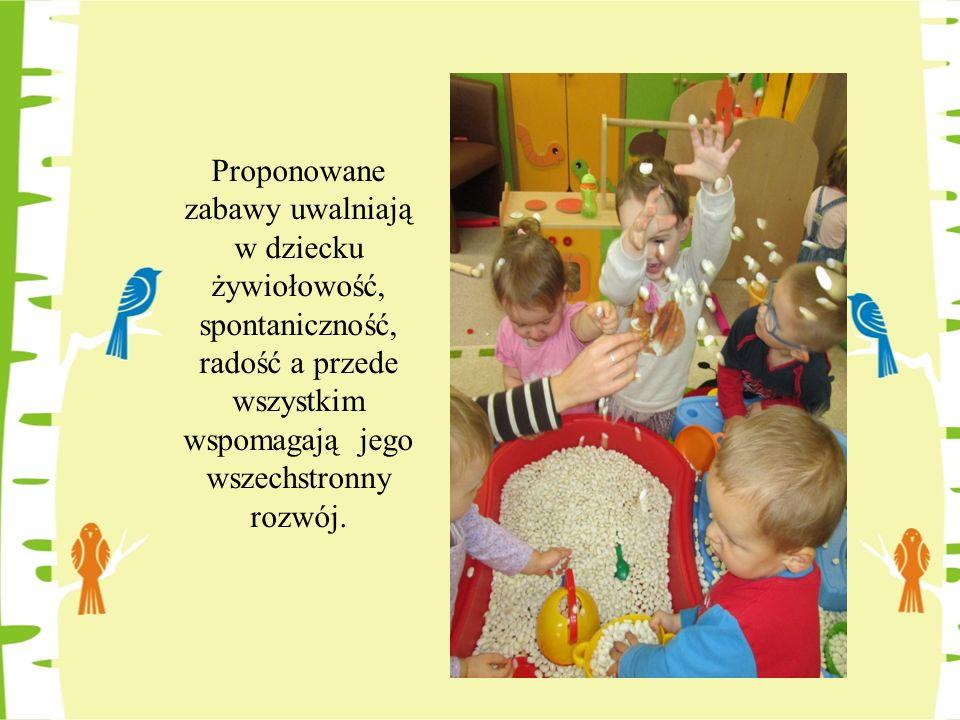 Proponowane zabawy uwalniają w dziecku żywiołowość, spontaniczność, radość a przede wszystkim wspomagają jego wszechstronny rozwój.