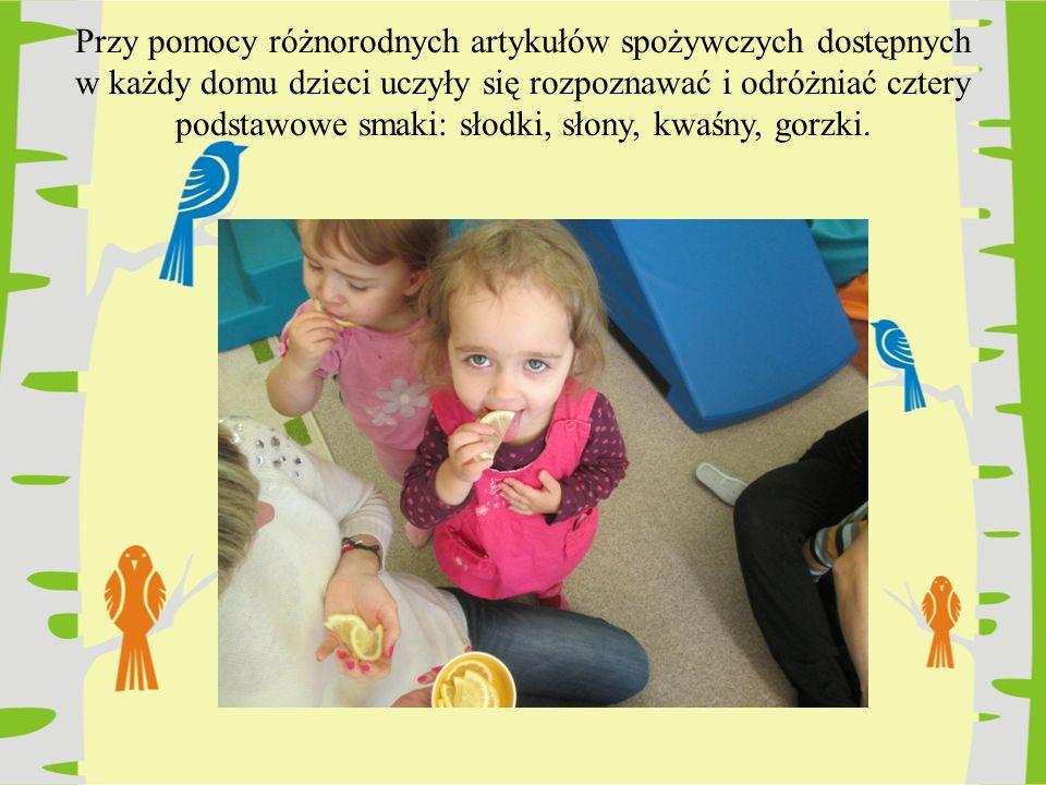 Przy pomocy różnorodnych artykułów spożywczych dostępnych w każdy domu dzieci uczyły się rozpoznawać i odróżniać cztery podstawowe smaki: słodki, słon