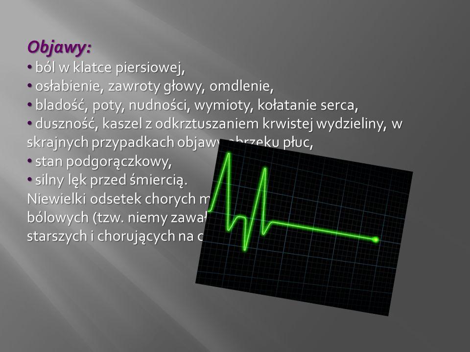 Objawy: ból w klatce piersiowej, ból w klatce piersiowej, osłabienie, zawroty głowy, omdlenie, osłabienie, zawroty głowy, omdlenie, bladość, poty, nud