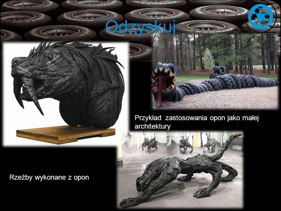 Odzyskuj Rzeźby wykonane z opon Przykład zastosowania opon jako małej architektury