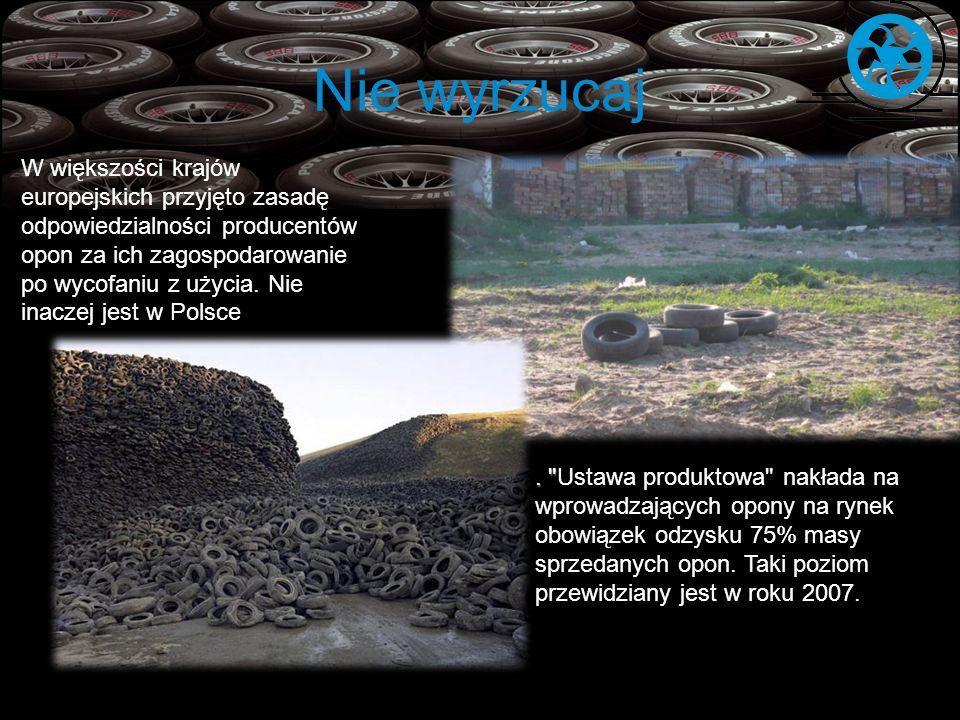 Nie wyrzucaj W większości krajów europejskich przyjęto zasadę odpowiedzialności producentów opon za ich zagospodarowanie po wycofaniu z użycia. Nie in