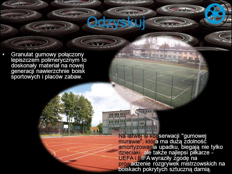 Odzyskuj Granulat gumowy połączony lepiszczem polimerycznym to doskonały materiał na nowej generacji nawierzchnie boisk sportowych i placów zabaw. Na
