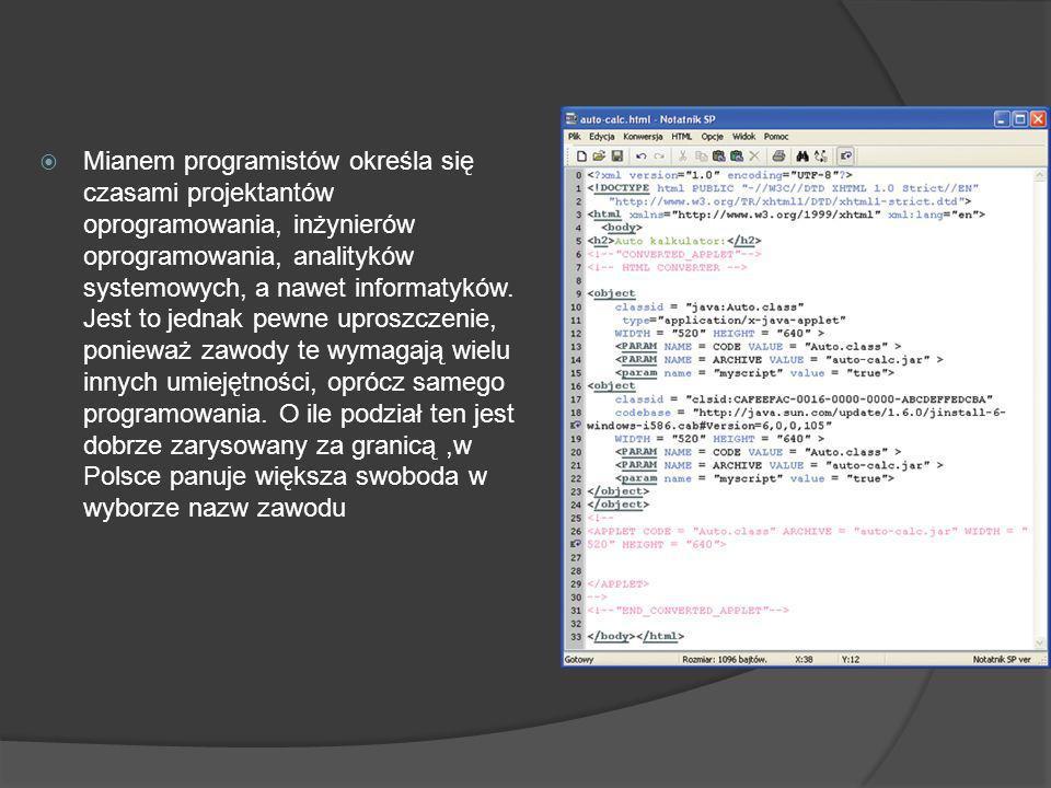 Mianem programistów określa się czasami projektantów oprogramowania, inżynierów oprogramowania, analityków systemowych, a nawet informatyków.