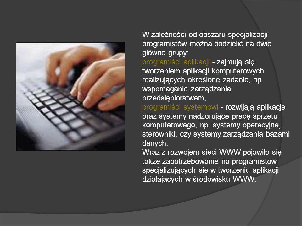 W zależności od obszaru specjalizacji programistów można podzielić na dwie główne grupy: programiści aplikacji - zajmują się tworzeniem aplikacji komputerowych realizujących określone zadanie, np.