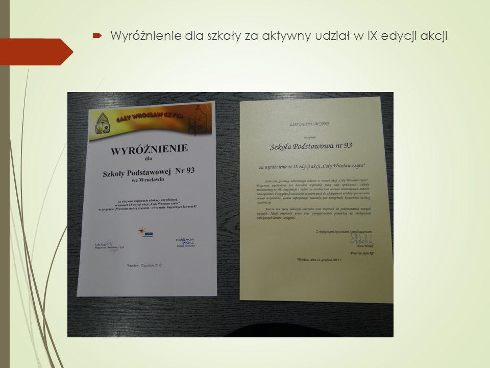 Wyróżnienie dla szkoły za aktywny udział w IX edycji akcji