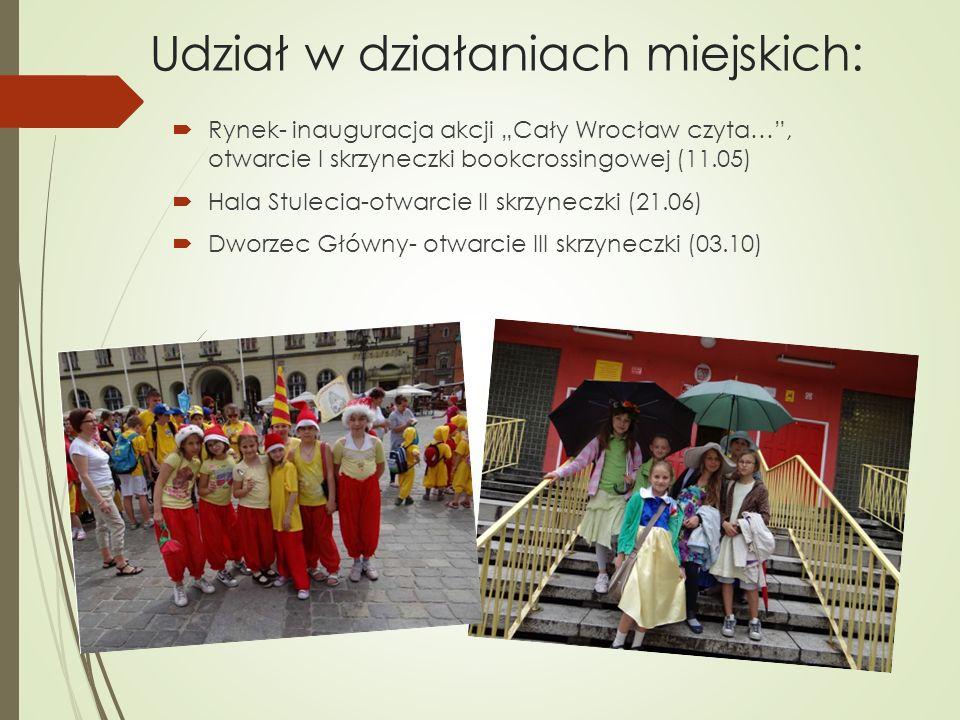 Udział w działaniach miejskich: Rynek- inauguracja akcji Cały Wrocław czyta…, otwarcie I skrzyneczki bookcrossingowej (11.05) Hala Stulecia-otwarcie I