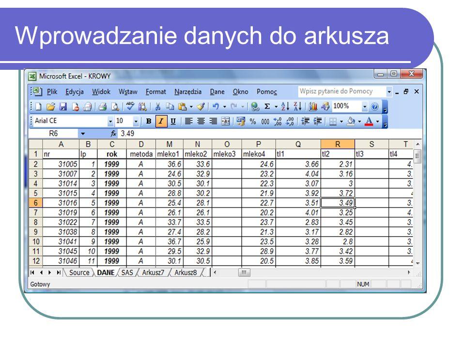 Wprowadzanie danych do arkusza
