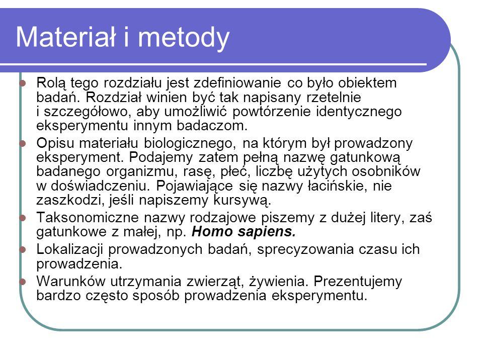 Materiał i metody Rolą tego rozdziału jest zdefiniowanie co było obiektem badań. Rozdział winien być tak napisany rzetelnie i szczegółowo, aby umożliw