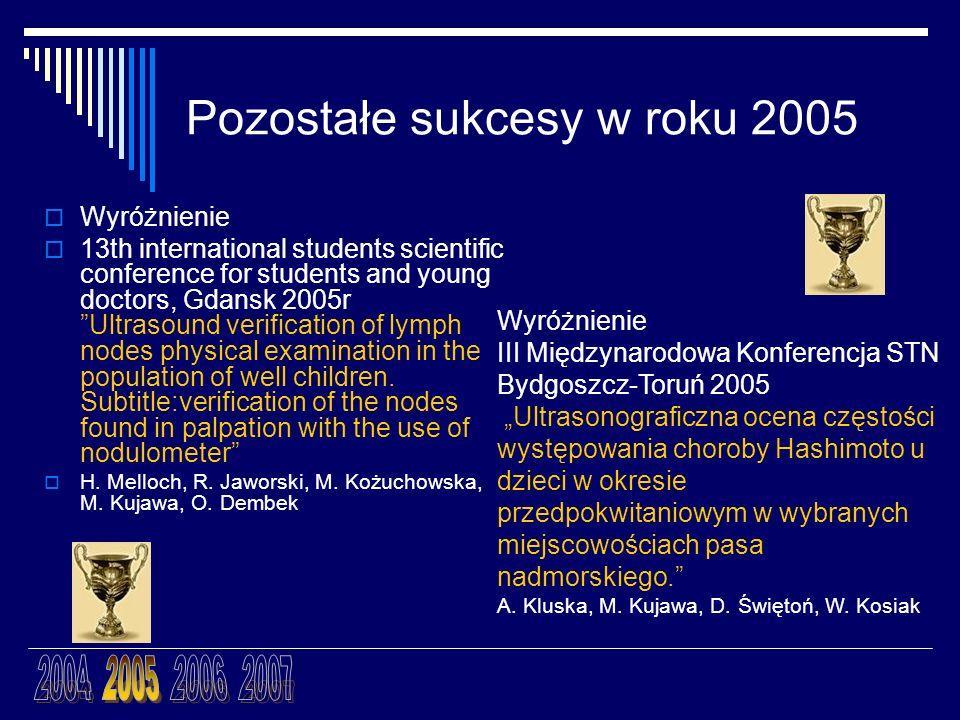 Pozostałe sukcesy w roku 2005 Wyróżnienie 13th international students scientific conference for students and young doctors, Gdansk 2005r Ultrasound ve