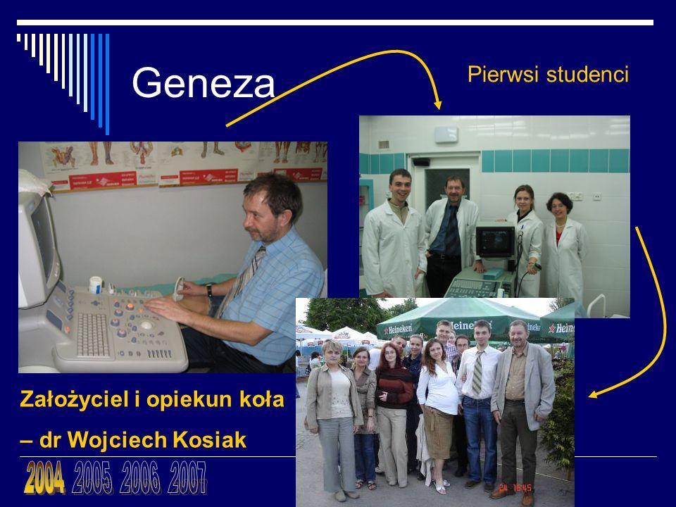 Geneza Założyciel i opiekun koła – dr Wojciech Kosiak Pierwsi studenci