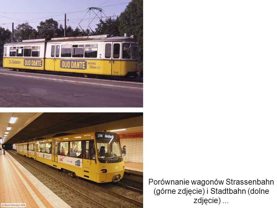 Porównanie wagonów Strassenbahn (górne zdjęcie) i Stadtbahn (dolne zdjęcie)...