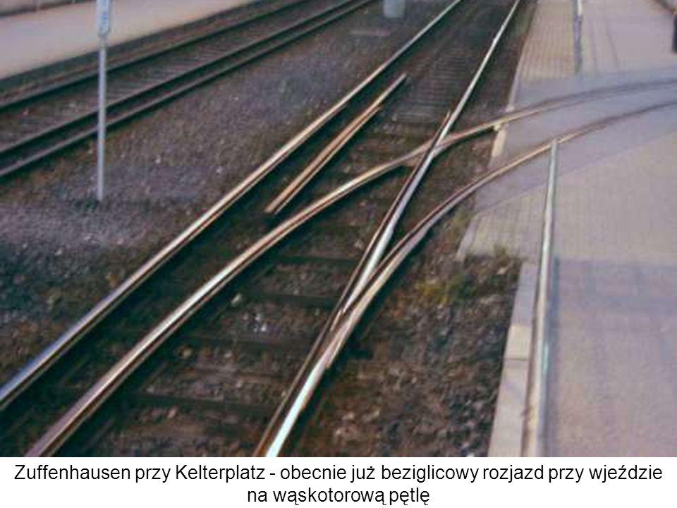 Zuffenhausen przy Kelterplatz - obecnie już beziglicowy rozjazd przy wjeździe na wąskotorową pętlę
