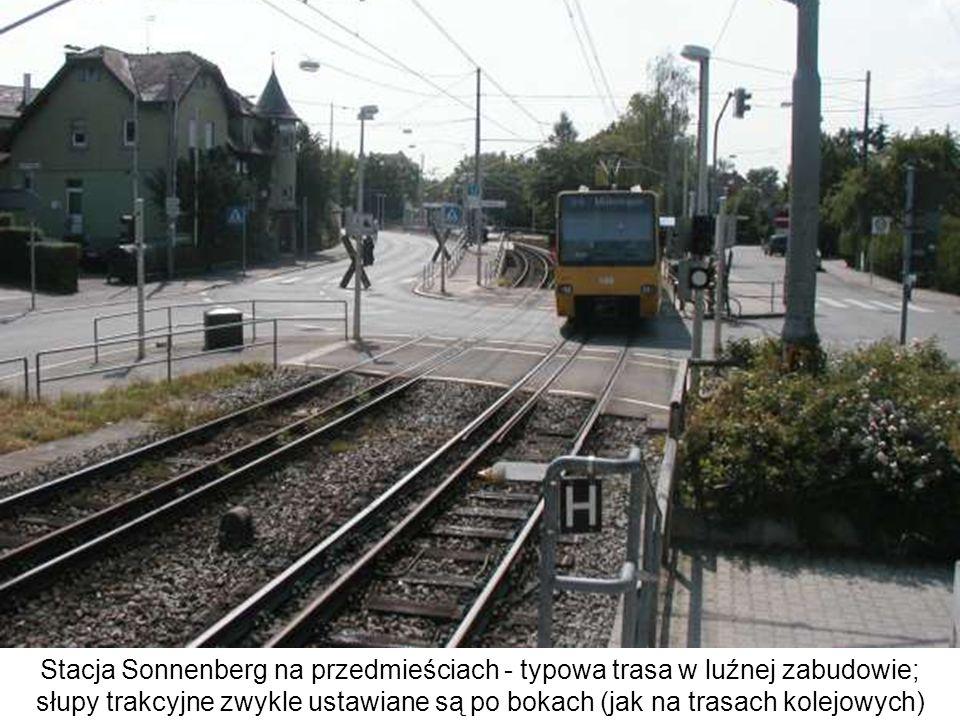 Stacja Sonnenberg na przedmieściach - typowa trasa w luźnej zabudowie; słupy trakcyjne zwykle ustawiane są po bokach (jak na trasach kolejowych)