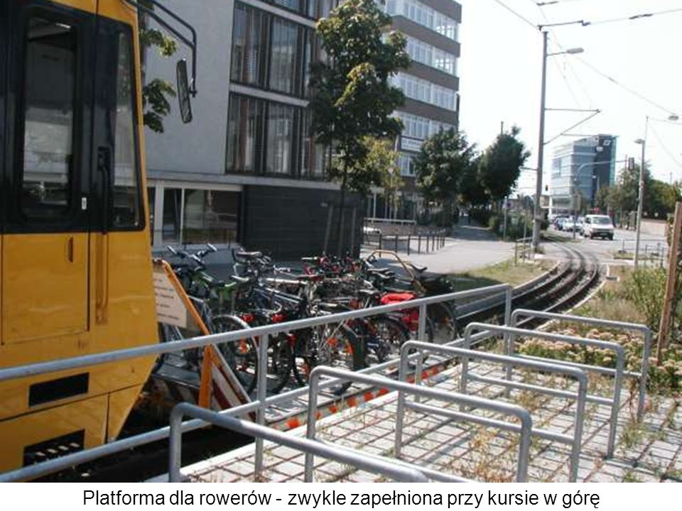 Platforma dla rowerów - zwykle zapełniona przy kursie w górę