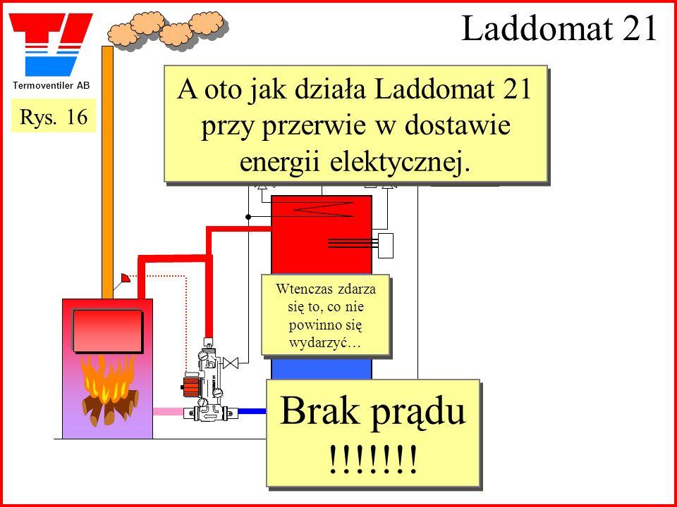 Termoventiler AB Laddomat 21 A oto jak działa Laddomat 21 przy przerwie w dostawie energii elektycznej. Wtenczas zdarza się to, co nie powinno się wyd