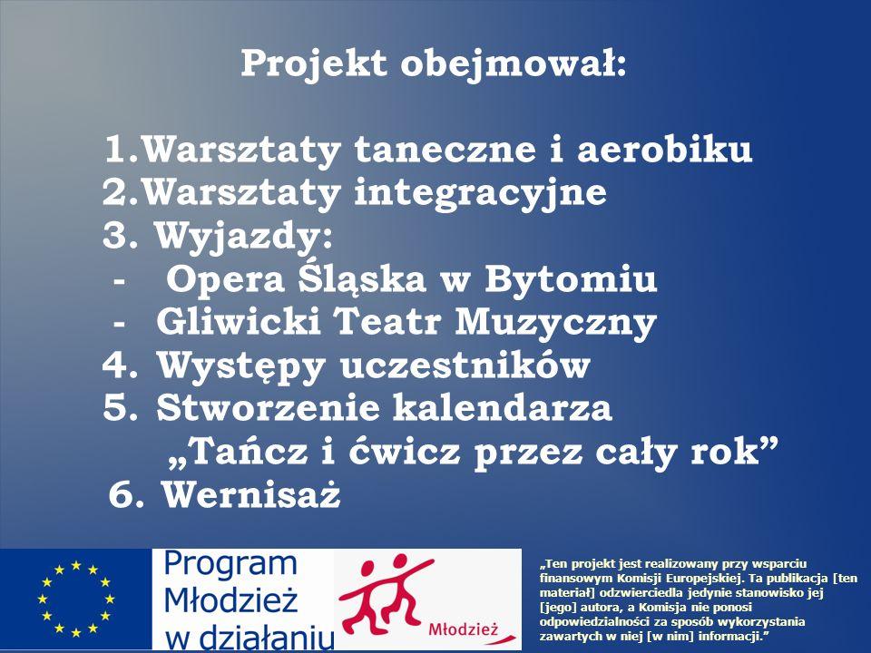 Projekt obejmował: 1.Warsztaty taneczne i aerobiku 2.Warsztaty integracyjne 3. Wyjazdy: - Opera Śląska w Bytomiu -Gliwicki Teatr Muzyczny 4.Występy uc
