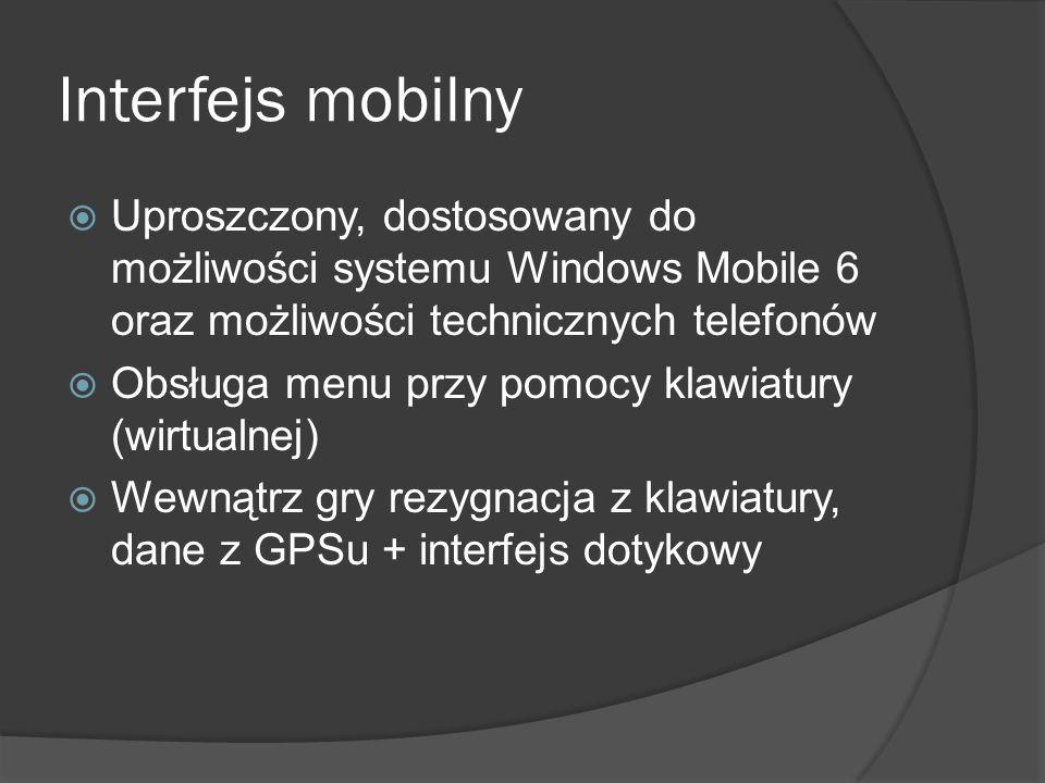 Uproszczony, dostosowany do możliwości systemu Windows Mobile 6 oraz możliwości technicznych telefonów Obsługa menu przy pomocy klawiatury (wirtualnej