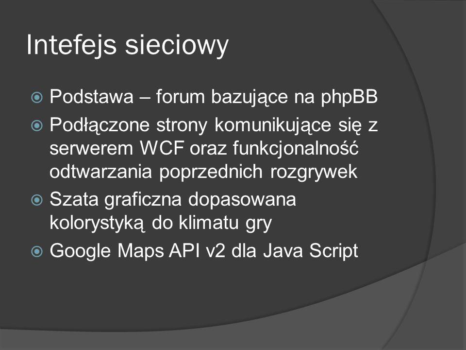Intefejs sieciowy Podstawa – forum bazujące na phpBB Podłączone strony komunikujące się z serwerem WCF oraz funkcjonalność odtwarzania poprzednich roz