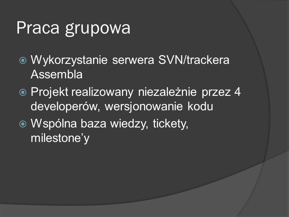 Praca grupowa Wykorzystanie serwera SVN/trackera Assembla Projekt realizowany niezależnie przez 4 developerów, wersjonowanie kodu Wspólna baza wiedzy,