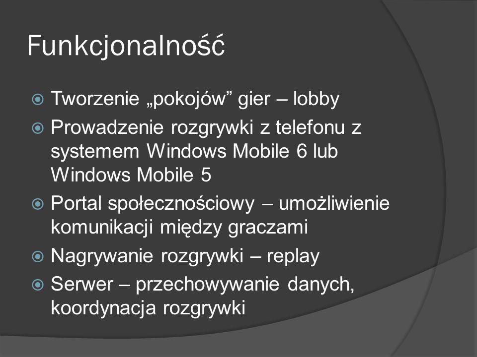 Funkcjonalność Tworzenie pokojów gier – lobby Prowadzenie rozgrywki z telefonu z systemem Windows Mobile 6 lub Windows Mobile 5 Portal społecznościowy
