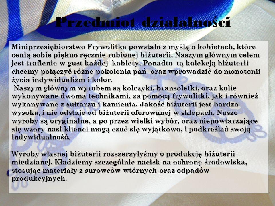 Funkcjonowanie Frywolitki Miniprzedsiębiorstwo Frywolitka zostało założone 3 października 2011 roku.
