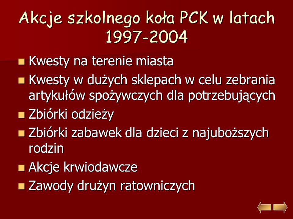 Akcje szkolnego koła PCK w latach 1997-2004 Kwesty na terenie miasta Kwesty na terenie miasta Kwesty w dużych sklepach w celu zebrania artykułów spożywczych dla potrzebujących Kwesty w dużych sklepach w celu zebrania artykułów spożywczych dla potrzebujących Zbiórki odzieży Zbiórki odzieży Zbiórki zabawek dla dzieci z najuboższych rodzin Zbiórki zabawek dla dzieci z najuboższych rodzin Akcje krwiodawcze Akcje krwiodawcze Zawody drużyn ratowniczych Zawody drużyn ratowniczych