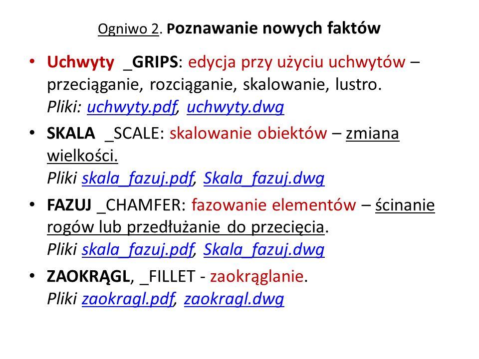 Ogniwo 2. P oznawanie nowych faktów Uchwyty _GRIPS: edycja przy użyciu uchwytów – przeciąganie, rozciąganie, skalowanie, lustro. Pliki: uchwyty.pdf, u