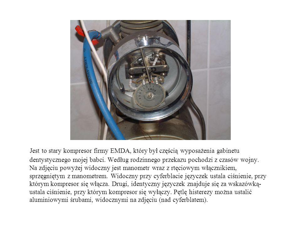 Jest to stary kompresor firmy EMDA, który był częścią wyposażenia gabinetu dentystycznego mojej babci. Według rodzinnego przekazu pochodzi z czasów wo