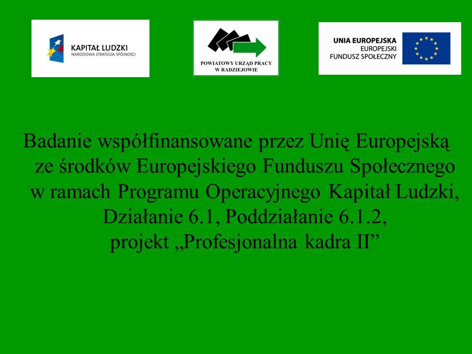 Badanie współfinansowane przez Unię Europejską ze środków Europejskiego Funduszu Społecznego w ramach Programu Operacyjnego Kapitał Ludzki, Działanie 6.1, Poddziałanie 6.1.2, projekt Profesjonalna kadra II