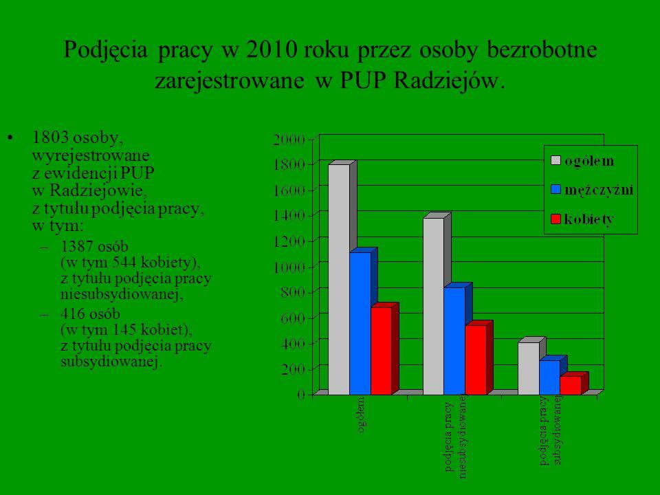 Podjęcia pracy w 2010 roku przez osoby bezrobotne zarejestrowane w PUP Radziejów.