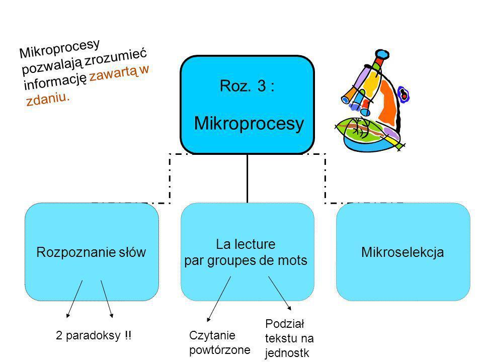 Roz. 3 : Mikroprocesy Rozpoznanie słów La lecture par groupes de mots Mikroselekcja Mikroprocesy pozwalają zrozumieć informację zawartą w zdaniu. 2 pa