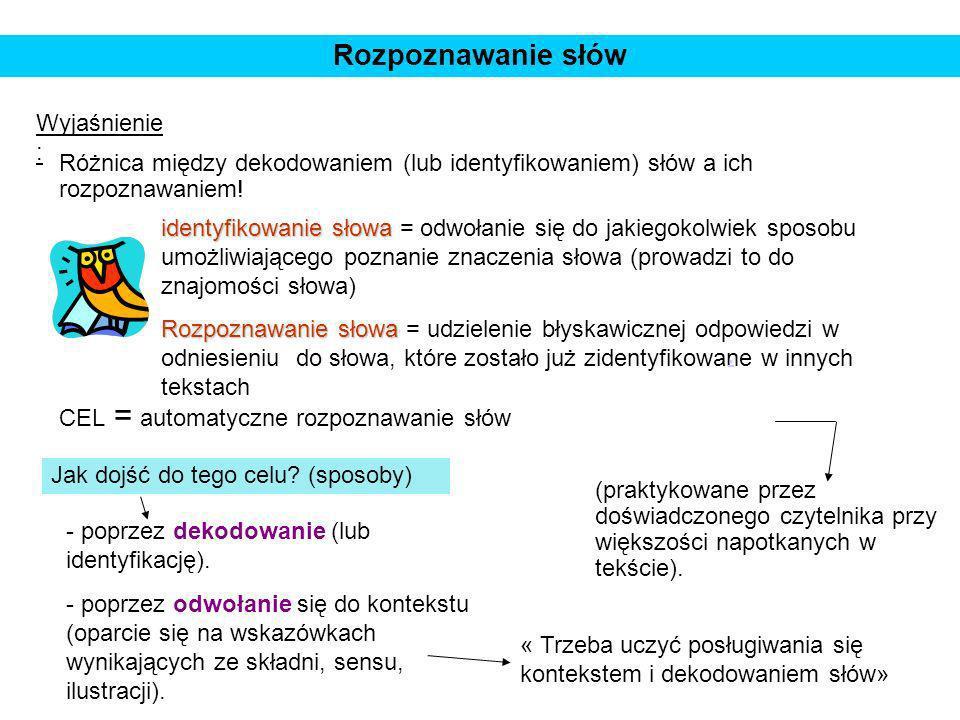 Rozpoznawanie słów Wyjaśnienie : Różnica między dekodowaniem (lub identyfikowaniem) słów a ich rozpoznawaniem! identyfikowanie słowa identyfikowanie s