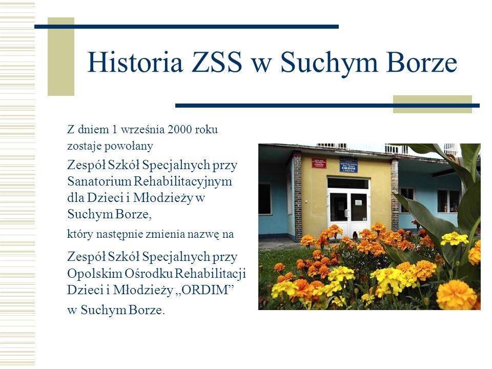 Historia ZSS w Suchym Borze Z dniem 1 września 2000 roku zostaje powołany Zespół Szkół Specjalnych przy Sanatorium Rehabilitacyjnym dla Dzieci i Młodz