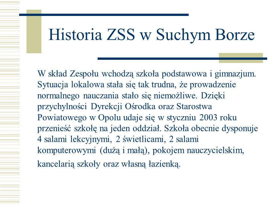 Historia ZSS w Suchym Borze W skład Zespołu wchodzą szkoła podstawowa i gimnazjum. Sytuacja lokalowa stała się tak trudna, że prowadzenie normalnego n