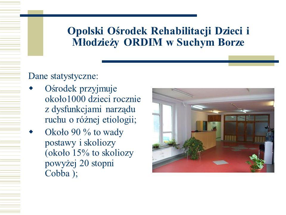 Opolski Ośrodek Rehabilitacji Dzieci i Młodzieży ORDIM w Suchym Borze Dane statystyczne: Ośrodek przyjmuje około1000 dzieci rocznie z dysfunkcjami nar