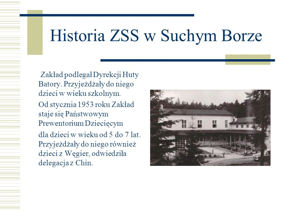 Historia ZSS w Suchym Borze Zakład podlegał Dyrekcji Huty Batory. Przyjeżdżały do niego dzieci w wieku szkolnym. Od stycznia 1953 roku Zakład staje si