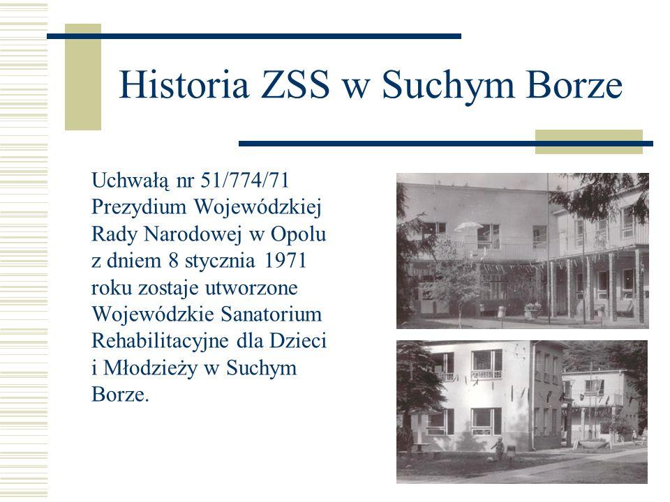 Historia ZSS w Suchym Borze Od 1 września 1971 roku powstaje w Sanatorium szkoła podstawowa i przedszkole.