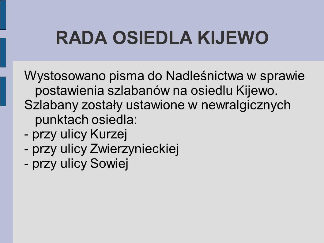 RADA OSIEDLA KIJEWO Wystosowano pisma do Nadleśnictwa w sprawie postawienia szlabanów na osiedlu Kijewo. Szlabany zostały ustawione w newralgicznych p