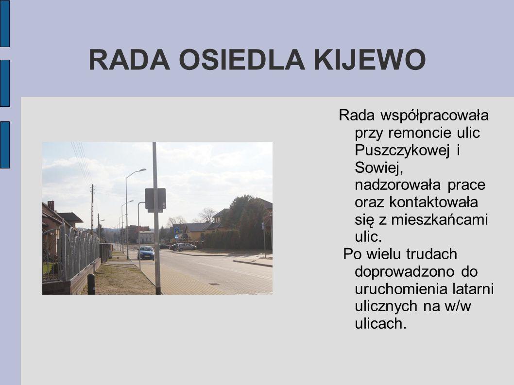 RADA OSIEDLA KIJEWO Rada współpracowała przy remoncie ulic Puszczykowej i Sowiej, nadzorowała prace oraz kontaktowała się z mieszkańcami ulic. Po wiel